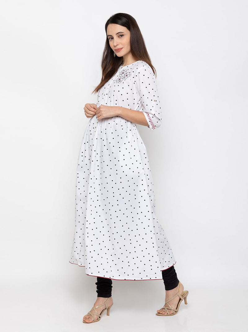 Soothing White Cambric Cotton Round Neck Printed Kurti
