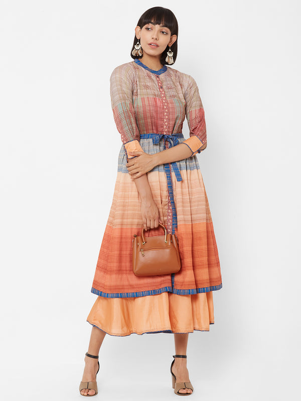 ZOLA Two-Layered Striped Orange Dress with Fabric belt
