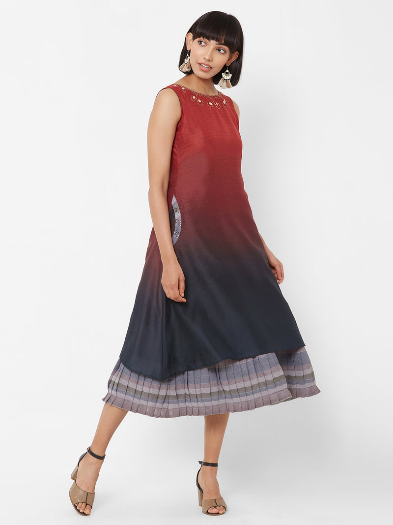 ZOLA Two-Layered Shaded Dress with Pockets Red