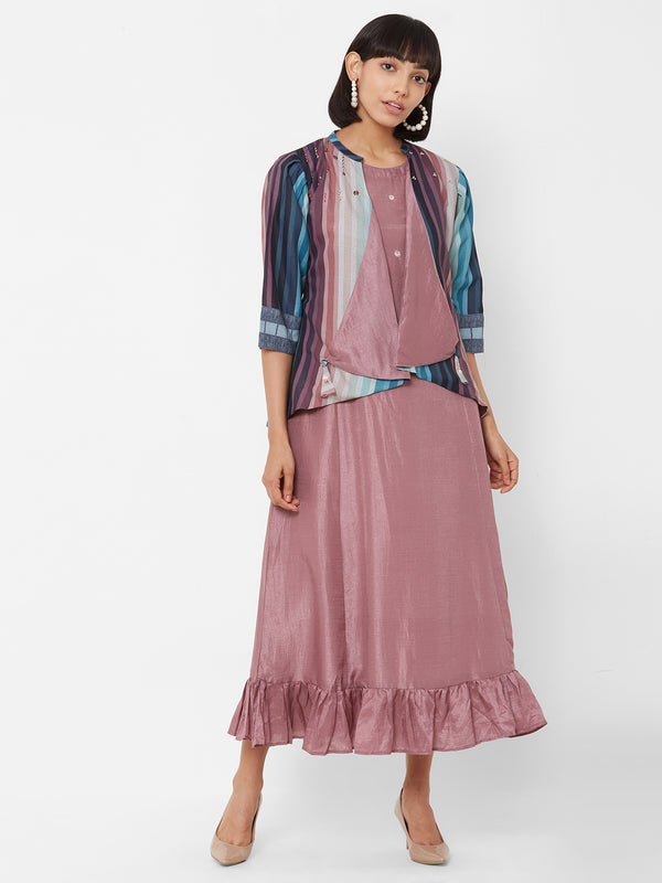 ZOLA Two-Layered Lilac Dress Paired with a striped Jacket