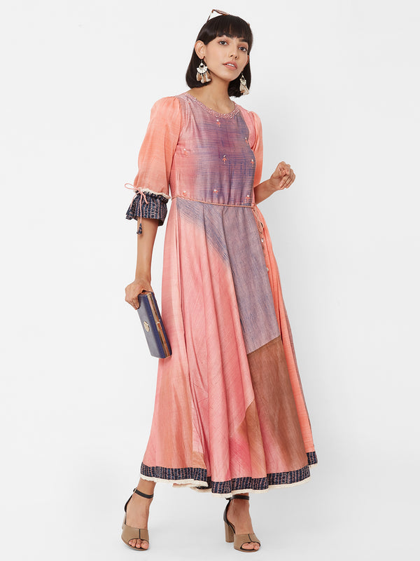ZOLA Long Peach Printed Dress with Belt & Embellishments