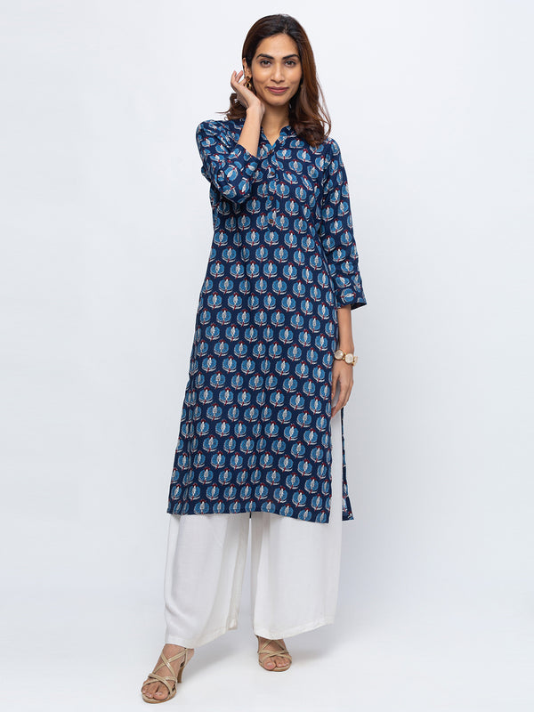 ZOLA Navy Blue Printed Kurta with Chinese Collar for Women