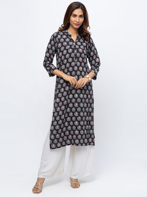 ZOLA Black Printed Kurta with Chinese Collar for Women