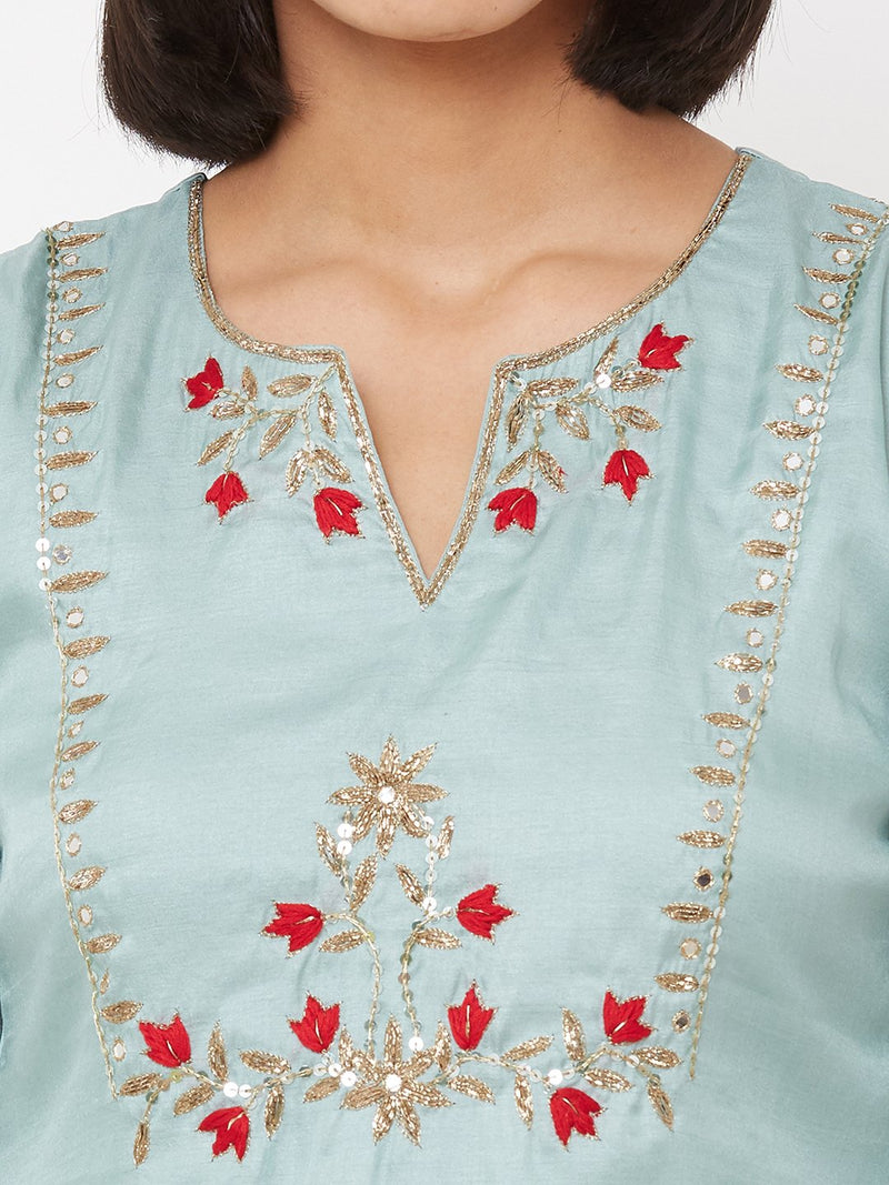 ZOLA Embroidered Gota Straight Kurta paired with Palazzos Sky Blue