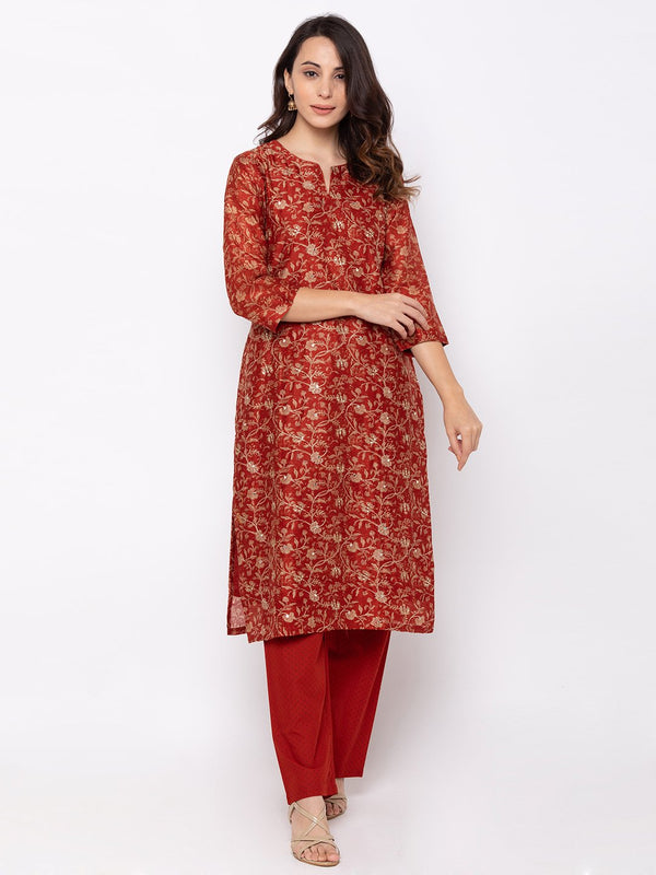 Marvellous Maroon Cotton V Neck Palazzo Set