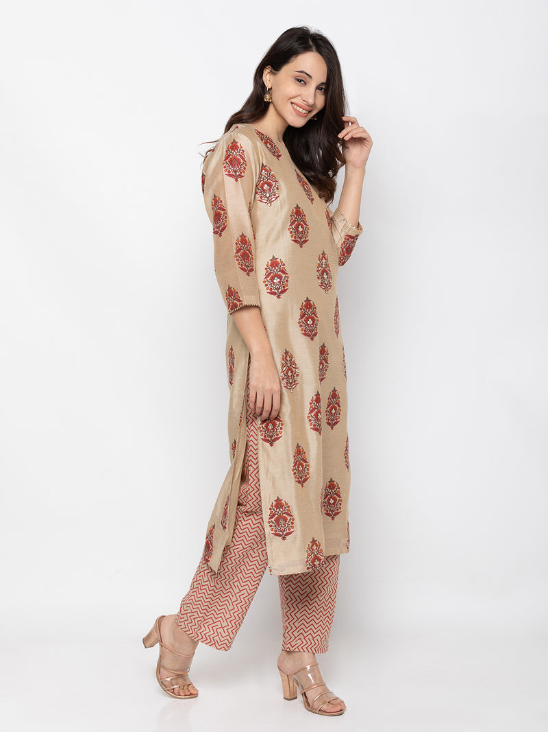 Exclusive Beige Modal Silk Round Neck Palazzo