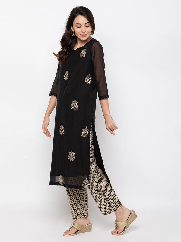 Sassy Black Cambric Cotton V Neck Palazzo Set