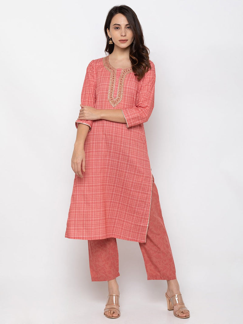 Pretty Peach Cotton Round Neck Palazzo Set
