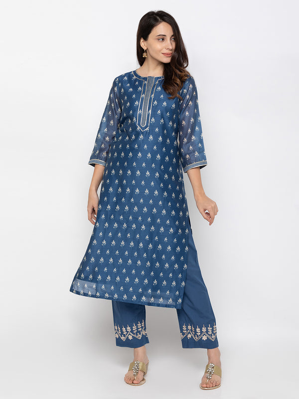Traditional Indigo Ethnic Printed Plazo Set