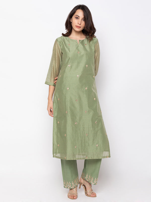ZOLA Glamorous Green Art Silk V Neck Kurta + Palazzo Set