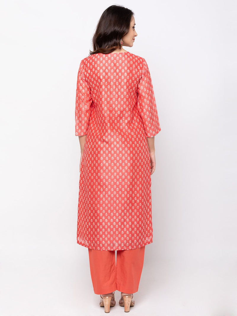 Peach Batic Printed Hand Embroidered Plazo Set