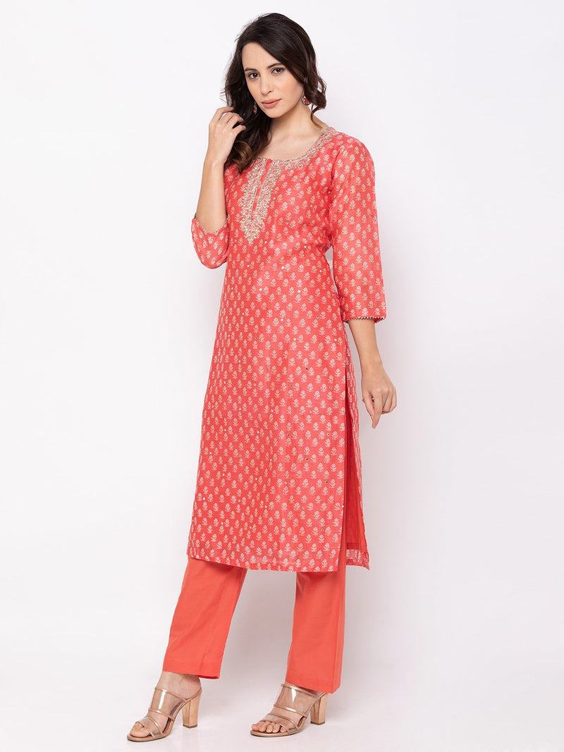 ZOLA Red Batic Printed Hand Embroidered Palazzo Set