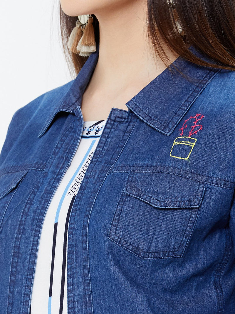 Flared Tunic with Denim Jacket and Embroidery Details