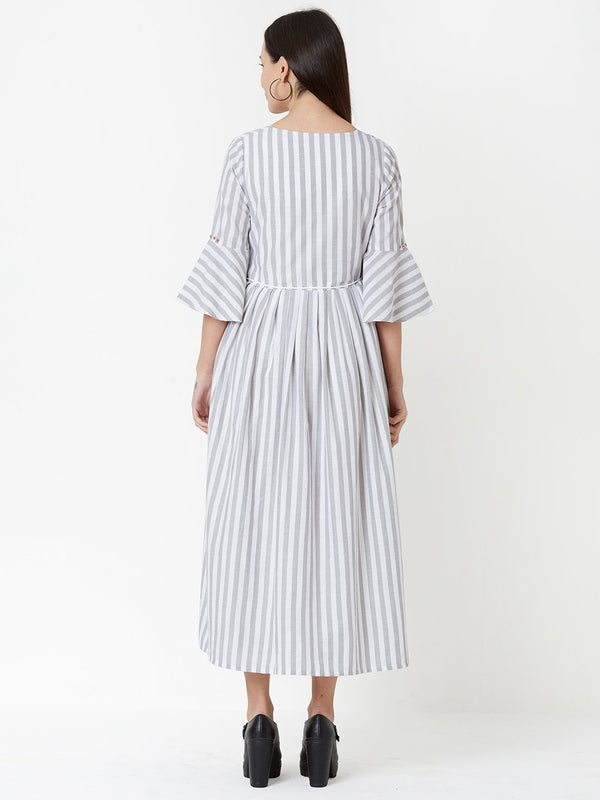 Striped Tent Dress with Belt