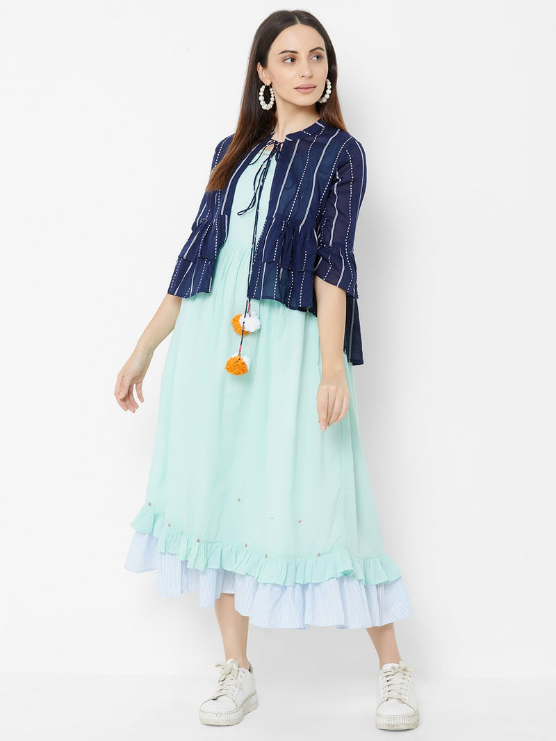 Three Layered Dress with Short Asymmetric Jacket - Blue
