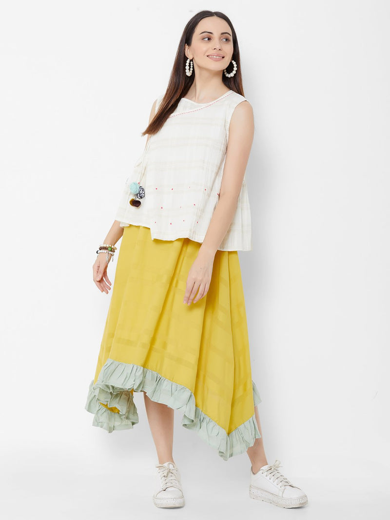 Three Layered Dress with Short Asymmetric Jacket - Yellow