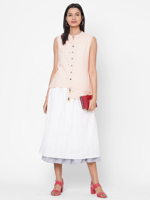 ZOLA Peach Solid Cotton Mandarin Collar Dress for Women