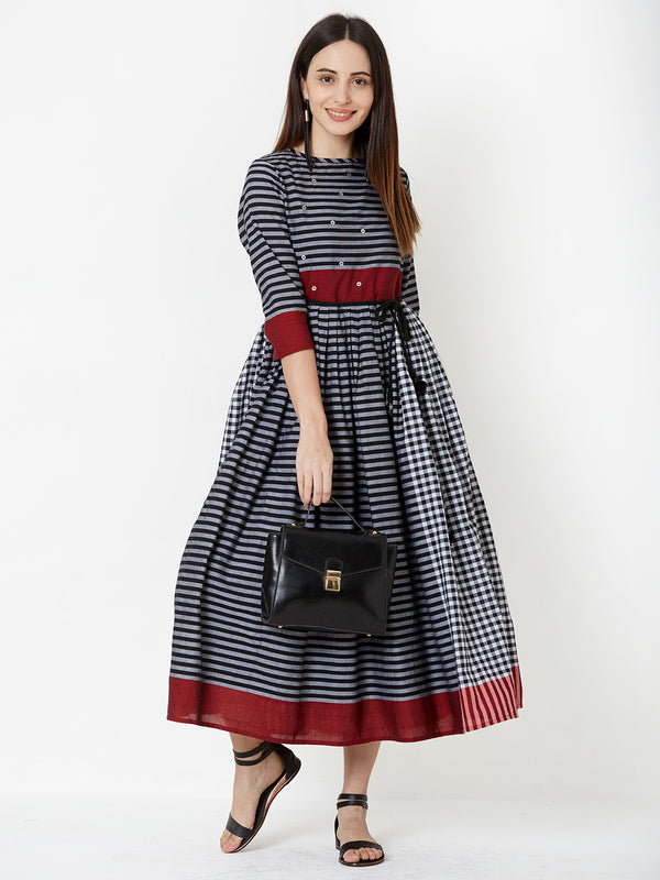 Two Layered Checks Striped combination Dress with Belt