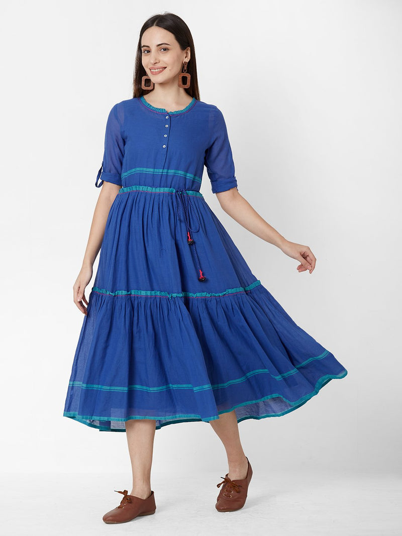 Blue Pure Cotton Notch Neckline Calf-Length Dress