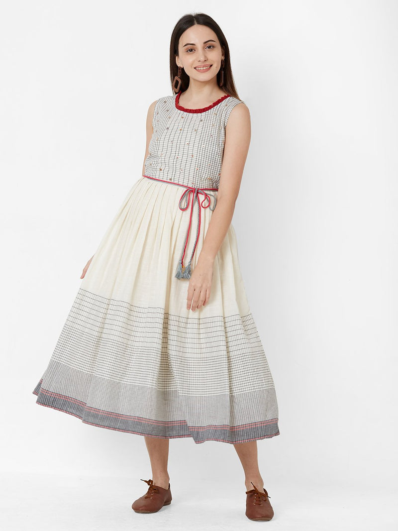 Two Layered Tent Dress with Belt