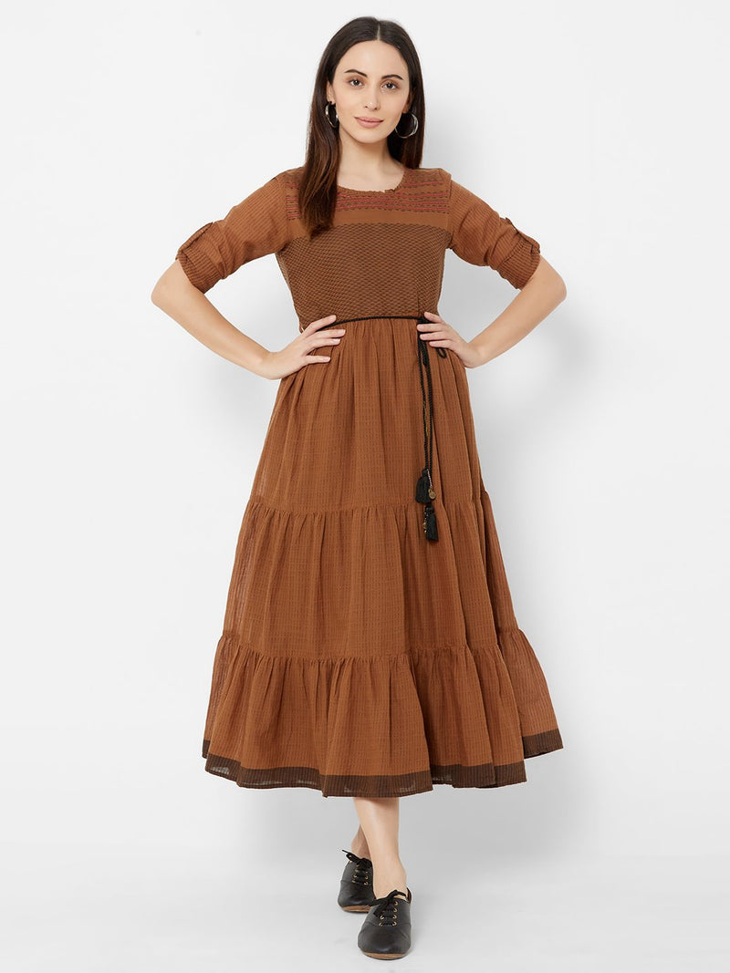Two Layered dress with Fabric Belt