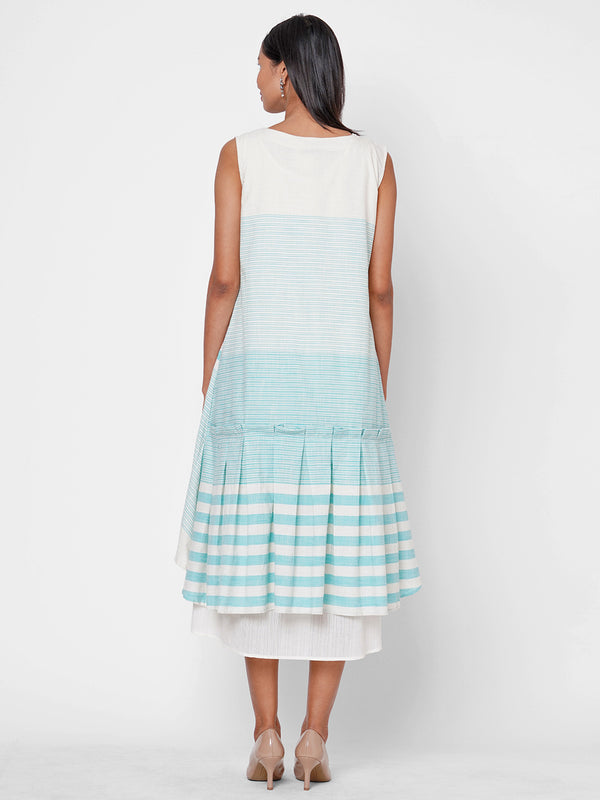 ZOLA Sky Blue Striped Cotton Round Neck Dress for Women