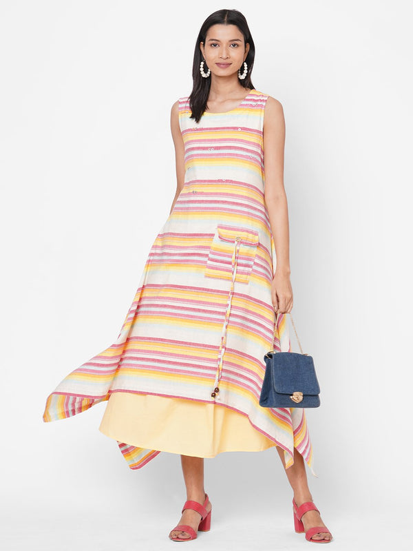 ZOLA Yellow Striped Cotton Round Neck Dress for Women