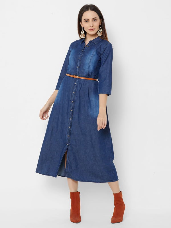 A-Line Denim Dress with Leather Belt