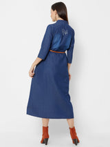 ZOLA A-Line Denim Dress with Leather Belt
