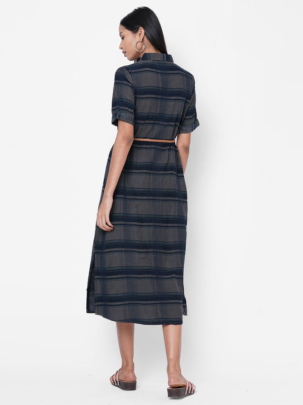 ZOLA Navy Blue Striped Dress with Belt for Women