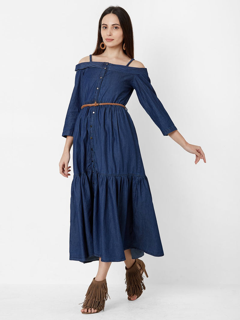 ZOLA Off-Shoulder Denim Dress with Belt