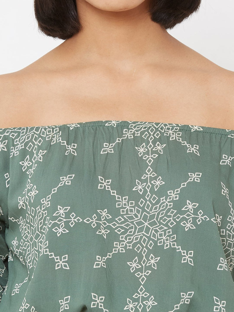 ZOLA Geometric Printed Top paired with loose Palazzo Pants Sea Green