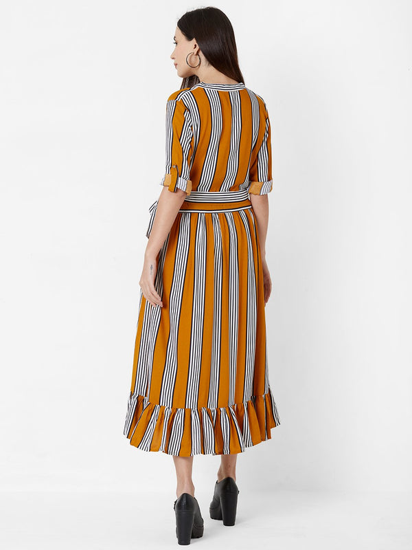 Striped Tent Dress with Cloth Belt