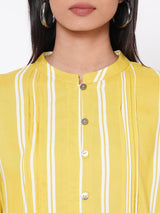 ZOLA Yellow Striped Dress with Belt for Women