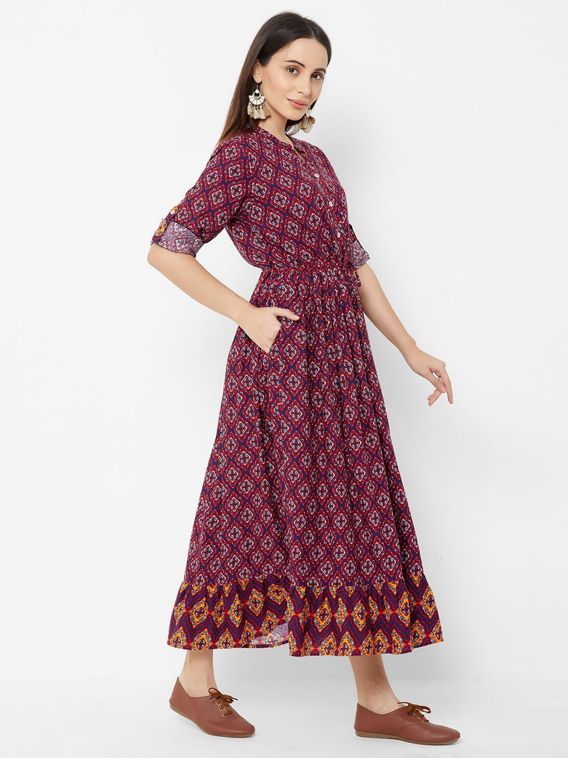 Printed Tent Dress with Side Pockets