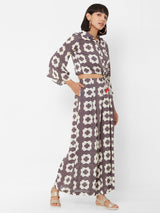 ZOLA Geometric Printed Top paired with loose Palazzo Pants Mauve