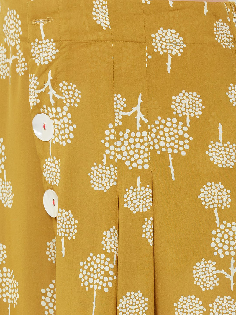 ZOLA Yellow All-over Printed Top Palazzo Set with Denim Jacket