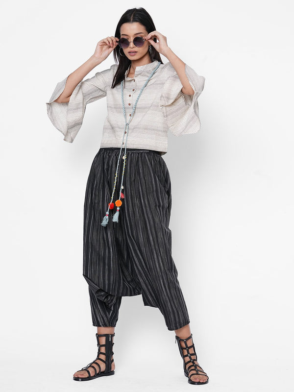 ZOLA Grey Crop Top + Dhoti Pants Set + Fabric Handmade Neck Piece for Women