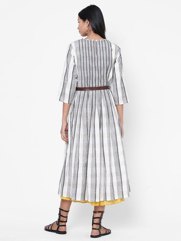 ZOLA Grey Striped Dress With Belt for Women