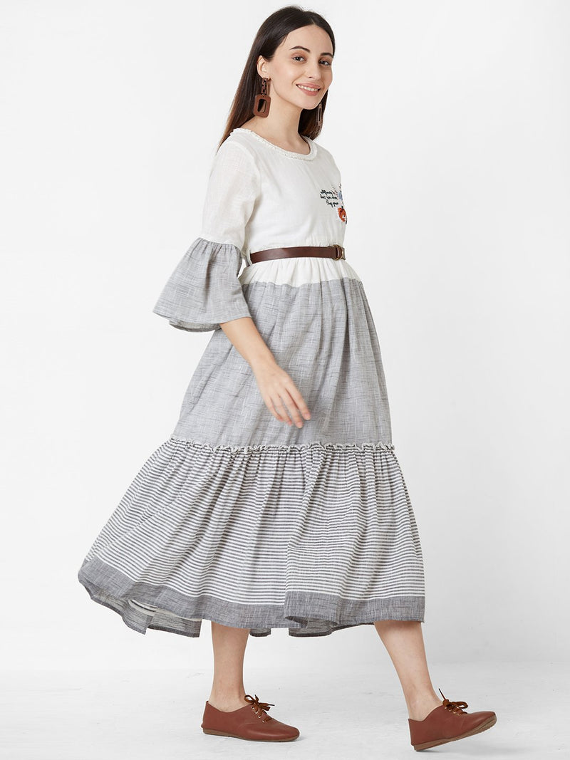 White Tent Dress with Leather Belt