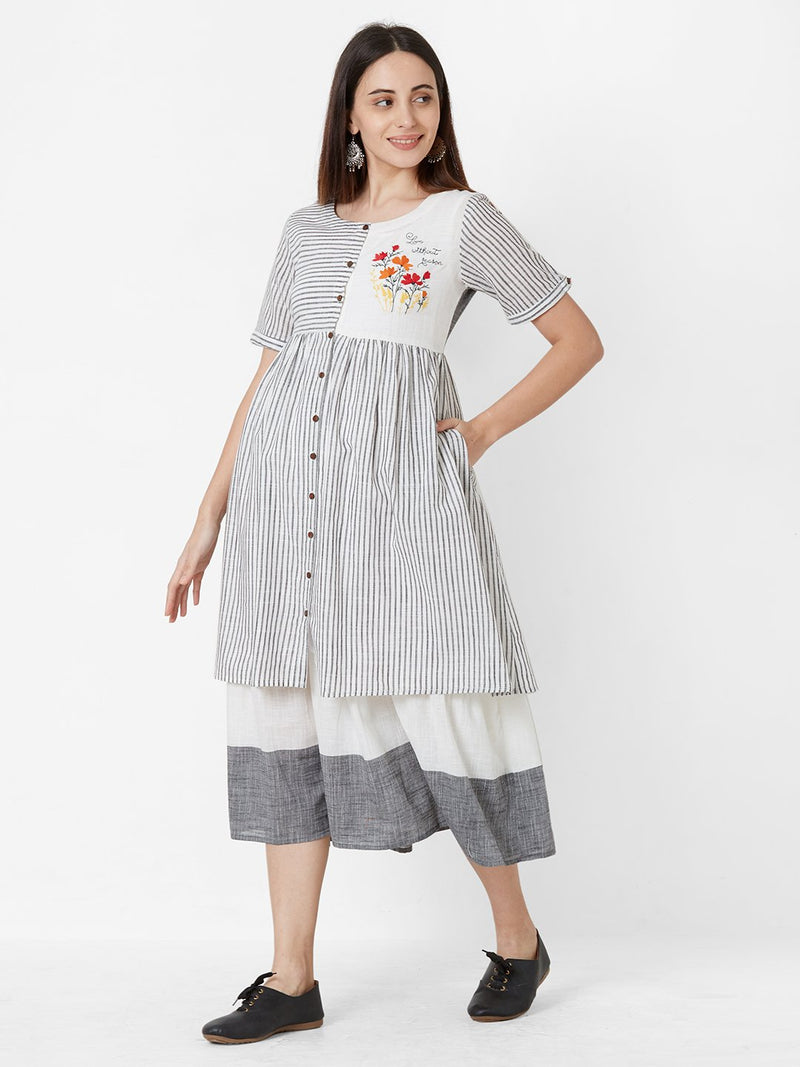Full Flared Striped two-piece Tunic Grey