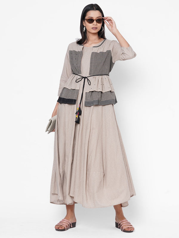 ZOLA Beige Flared Dress with Tie Up Jacket for Women