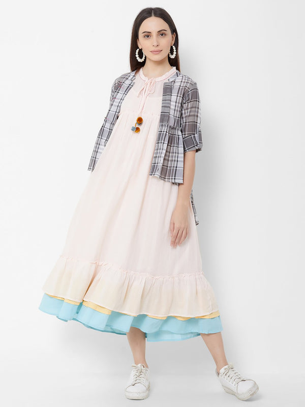 Three Piece Dress with Checks Jacket Peach