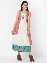ZOLA Three Layered Dress with jacket and Embroidery detail
