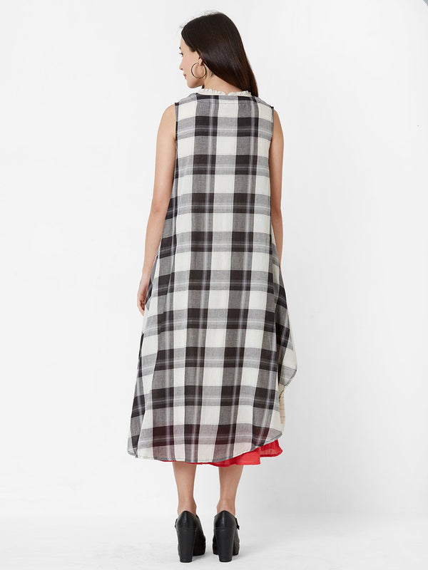 ZOLA Three Layered Dress with Checkered Jacket and Embroidery detail