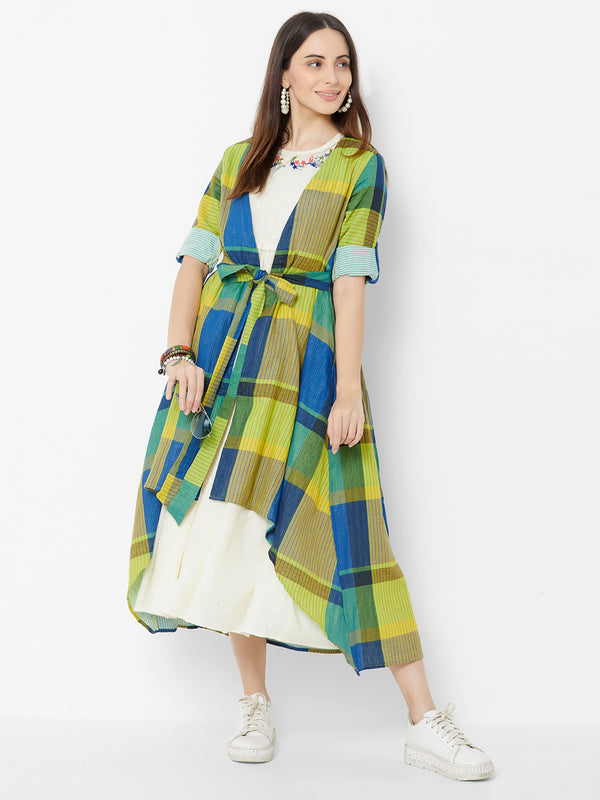 Three Piece Dress with Checks Jacket Multi