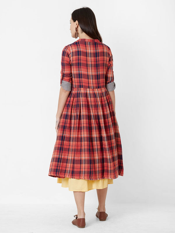 Off-White Dress with Long Red Checks Jacket