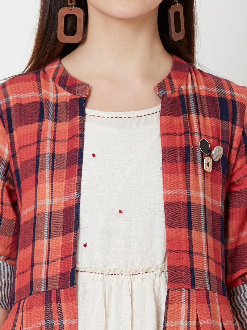 ZOLA Off-White Dress with Long Red Checks Jacket