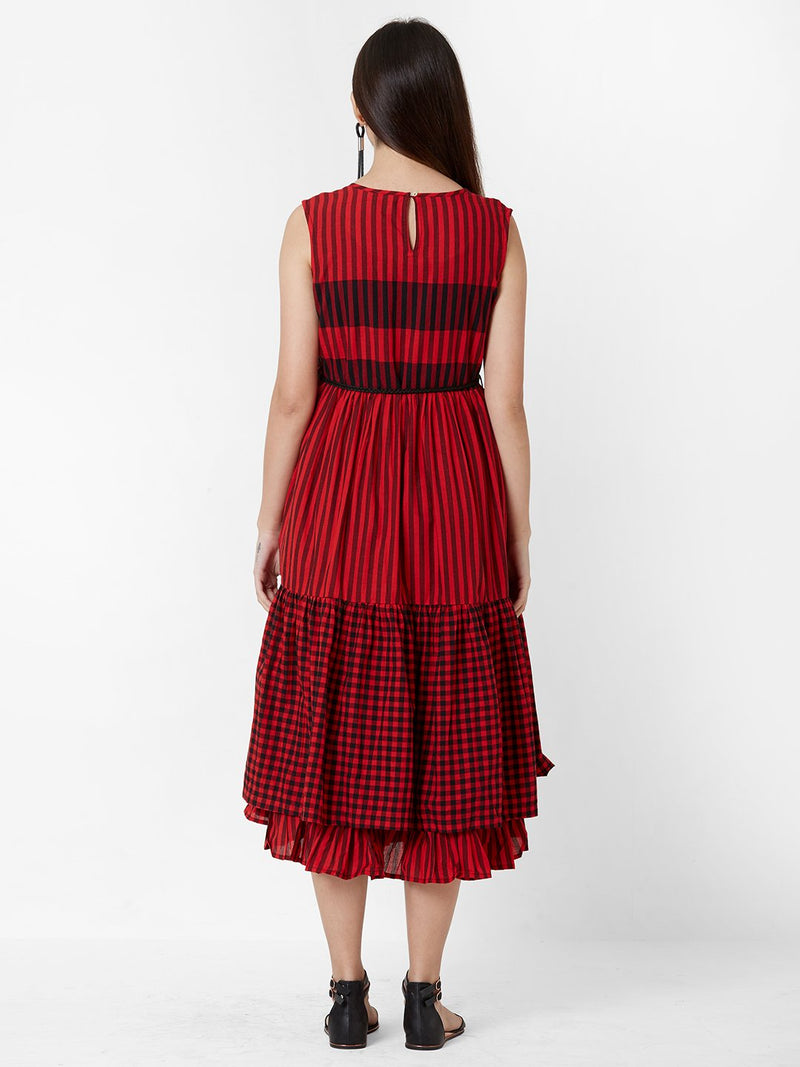 Two Layered dress with fabric belt - Red