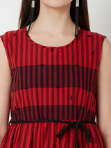 ZOLA Two Layered dress with fabric belt - Red